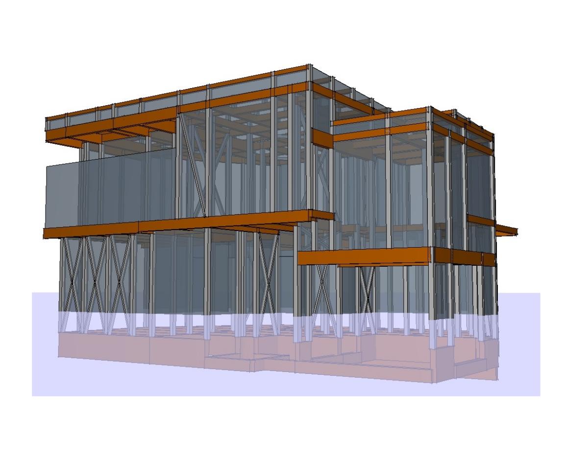 兵庫スキップフロアの家 構造体3DCG